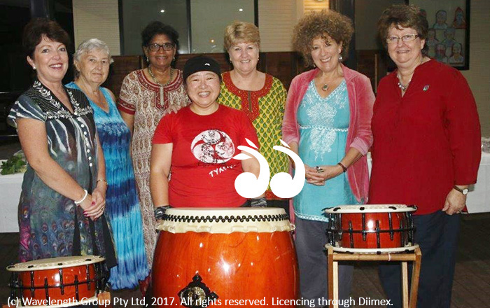 Japanese drumming was aa big hit at the multi-cultural dinner: L-R: Jan Kelaher, Bettina Cummins, Elizabeth Walter, Lee Watts, Cr Sue Abbott and Kerri Cone. Front: Kiyomi Calwell.