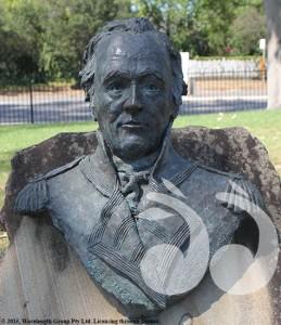 Bust of Governor John Hunter in Elizabeth Park, Scone.