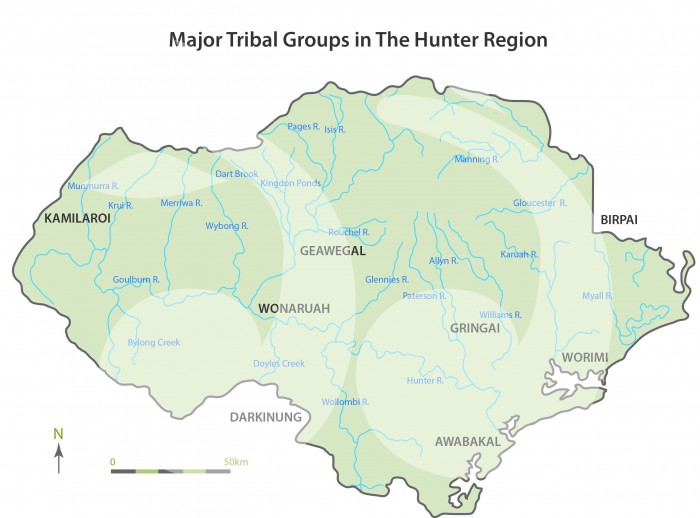 Major tribal groups in the Hunter region reproduced courtesy of Dr Helen Brayshaw (c) 1987.