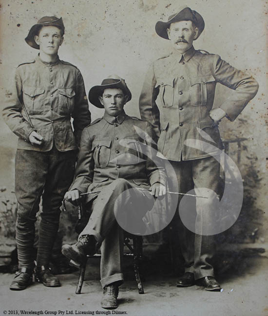 BOER WAR VETERANS: Aubrey Dobson of Scone, an unknown soldier and Jim P Hartney of Aberdeen. Photo courtesy of Scone and Upper Hunter Historical Society.