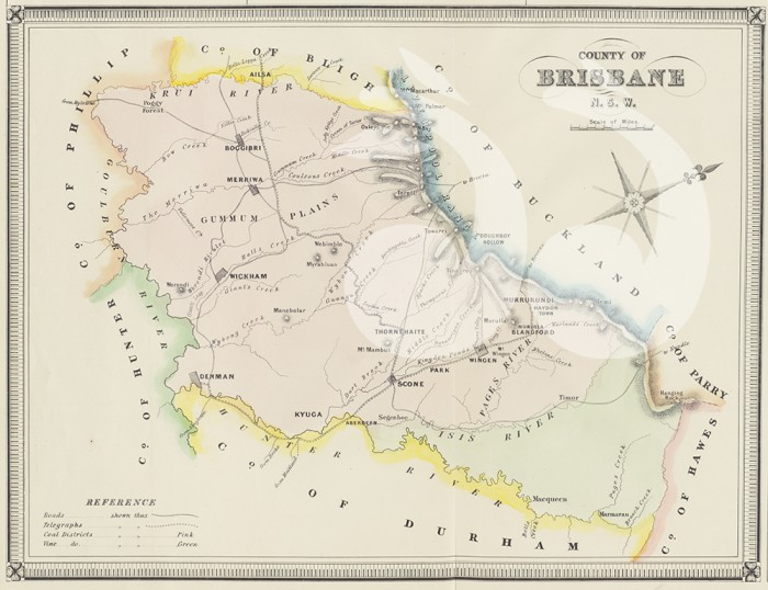 Map of the County of Brisbane courtesy of the National Library of Australia. External reference number: CD-6907996.