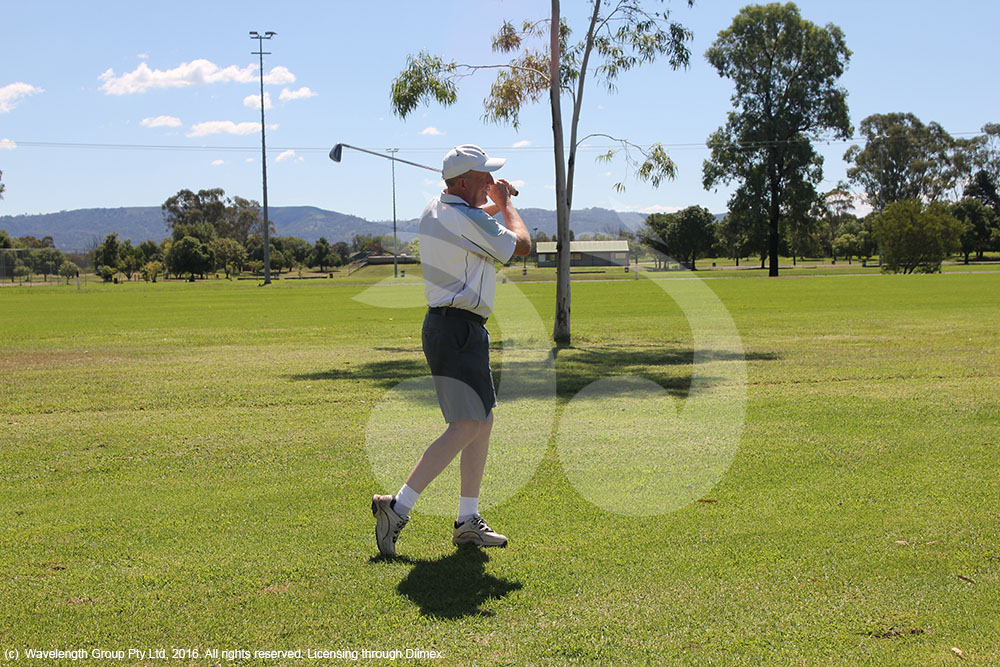 Ross Bank taking a swing on the Scone golf course.