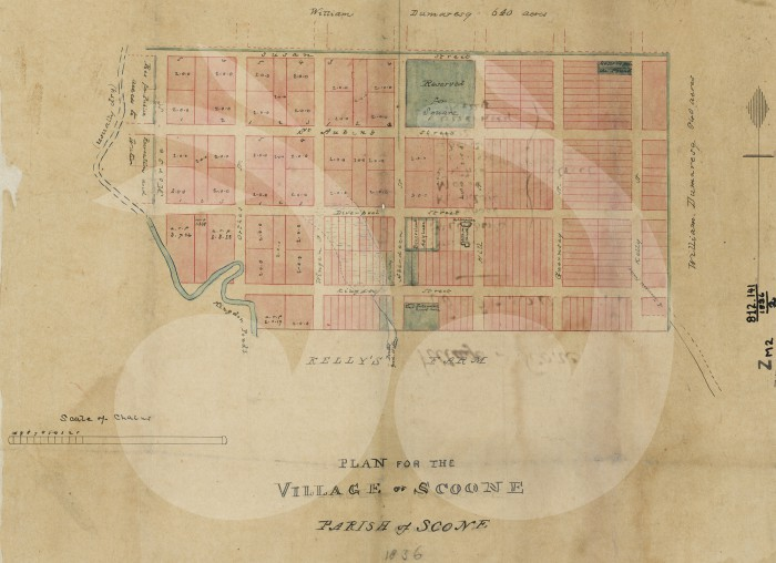 Map of the plan for Scone, 1836. Kindly provided by the NSW State Library.