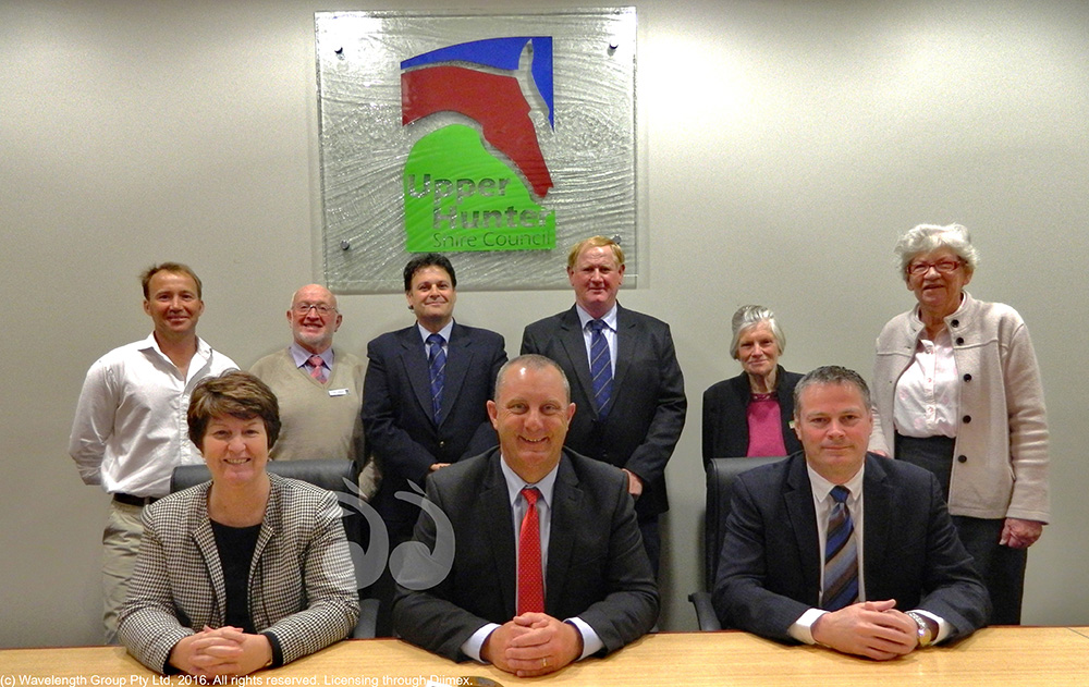 Upper Hunter Shire Council: Back: Cr Fisher, Cr Campbell, Mayor Bedggood, Cr Collison, Cr Driscoll, Cr Peebles. Front: Cr Watts, Cr Johnsen and general manager Waid Crocket.