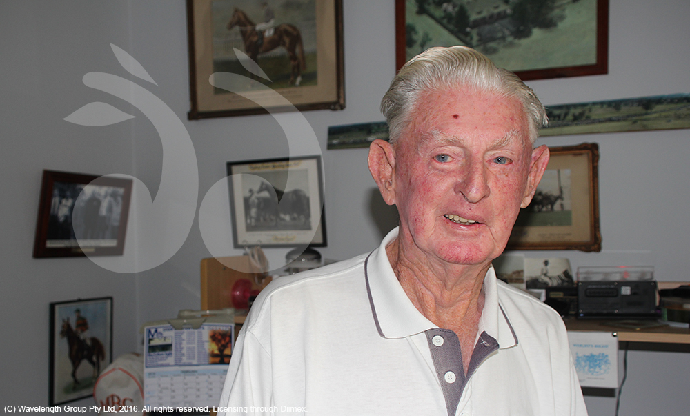 Harley Walden, in his home surrounded by racing memorabilia collected over a lifetime in the thoroughbred industry.