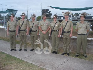 Soldiers from the 12/16 Hunter River Lancers at the Aberdeen dawn ANZAC service. Trooper Michal Bunt, Trooper Patrick Flanagan, Lance Corporal Cameron Turner, Corporal Brett Condon, Craftsman Sarah Jackson, Trooper Casey Flanagan and Trooper Jordan Legge