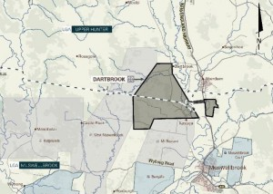 Proximity of other open cut operations to Dartbrook mine. Map from Australian Pacific Coal.