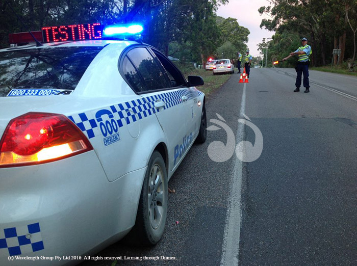 Police conducting random breath testing (RBT). Photograph courtesy of police media