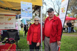 Margie Cooper and Errol Bates supporting the Westpac Rescue Helicopter.