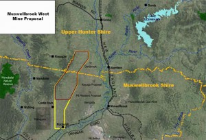The Muswellbrook West mine proposal lies within the Muswellbrook and Upper Hunter Shire.