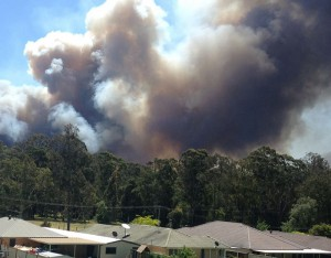 The fire moving towards Abernethy yesterday. Residents of Abernethy and Kitchener were told to shelter in place.