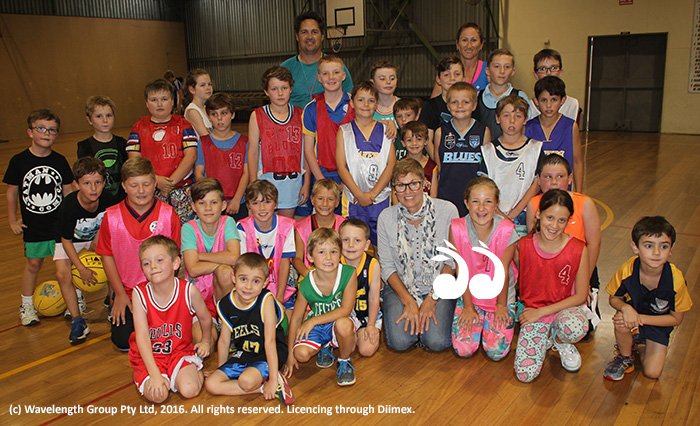 Pauline Carrigan front and centre with children at Scone Amateur Basketball Association and coaches Rikki Irwin and Danielle Brown.