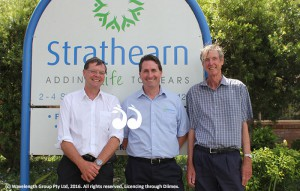 Dr Stephen Judd, chief executive of HammondCare, Matthew Downie, chief executive officer of Strathearn and Gordon Halliday, chair of the Strathearn board at the Stafford Street facility yesterday.