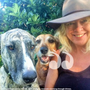 Leah Marchant with two of her dogs.