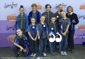 Scone Equestrian Vaulting Team decked out in blue at the Royal Easter Show: Back: Grace Pratley, Phillip Ritter, Justin Boyle, Georgina Heard and coach Robyn Boyle. Front: Hannah Gatwood, Daytona Holloran, Charlotte Clark, Peyton Halloran and Sarah Clark.