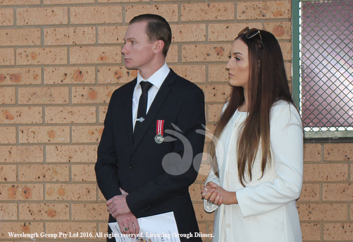Lieutenant Joseph Smith with his partner Hannah Cronin at the Scone ANZAC Dawn Memorial Service.