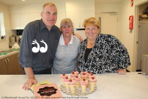 Peter Morgan-Jones, Strathearn cook Libby Newell and Danielle McIntosh with some freshly baked cake cones for the residents.