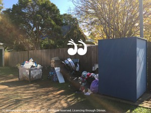 Items and rubbish dumped behind the St Vincent de Paul bin in Scone.