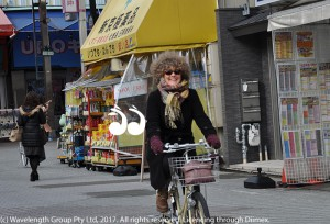 Sue Abbott riding her bike in Tokyo in February.