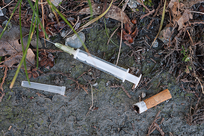 More than 30 syringes were picked up in a local car park recently.