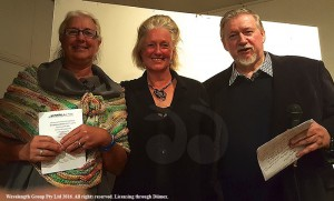 L-R: winning artist Jenny Vaughan, Mandy Archibald- president and Judge John Bradley. photograph courtest of Murrurundi Art Prize.