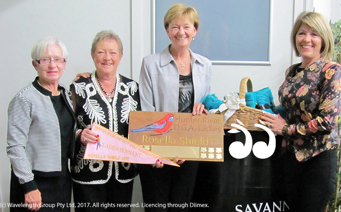The Hunter River District pennant presentation 2017 with Pam Manning, Sue Watts, Lyn Banks and Juie Leckie.