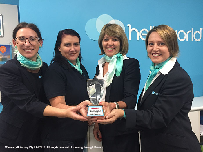 The Helloworld Travel team L-R: Zoe Martin, Rachael McGuirk, Julie Leckie and Amanda Dowell with their award.
