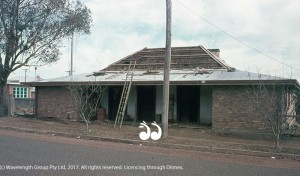The original shingle roof can be seen before the new tin roof was placed over it in the 1960's renovations.