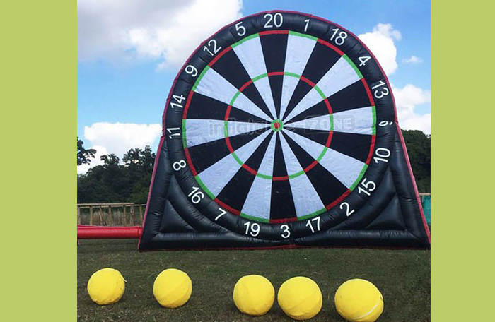 Inflatable soccer darts is now in Scone.