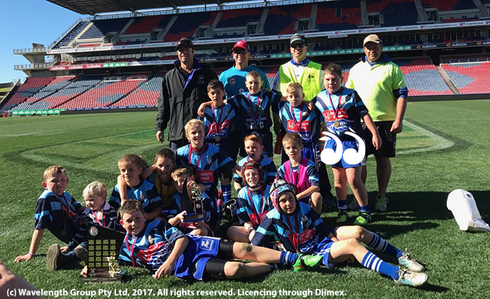 Under 10 winners: Coach Rick McInerney, trainers Ben Foley, Jade Smith and Shaun Seckold. Team back row: Will Officer, Steven Ashford, Jack Benton and Jack Teague. Second back row: Sullivan Brooker, Jack Shankley, Will Foley. Third row: Logan Cuschieri, Archie Seckold, Jayden Seckold, Yorke McInerney and Kade Sherwood. Front row: Charleu Smith and Clay Sadler.
