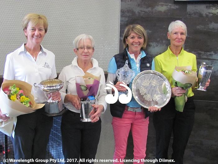 Ladies 20117 Championships: Club champion Lyn Banks, Division 2 champion Pam Manning, Nett veteran nett winner Julie Leckie and Division three champion Annie Woods.