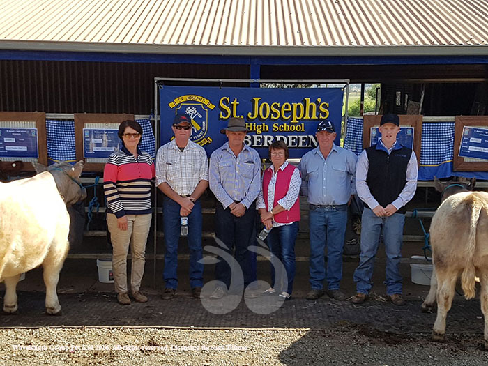 Some of the producers who donated the cattle for St Joseph's to take to Ekka. L-R: Kim and Graham Clydesdale, Neil and Dell Sinderberry, Greg and Hayden Cox. Photograph Courtesy of St Joseph's High School, Aberdeen.