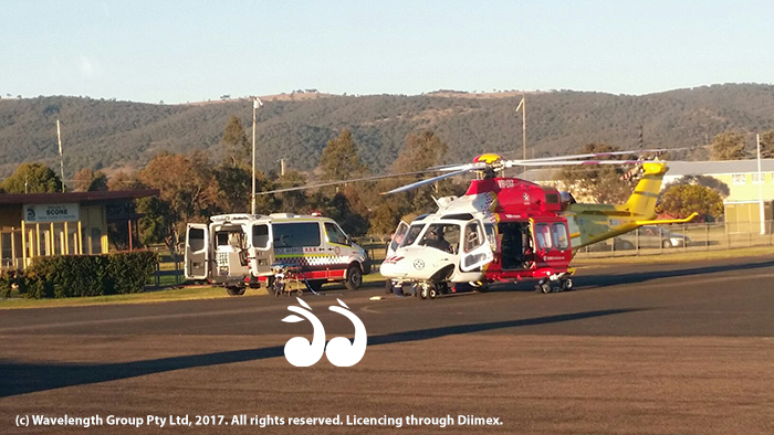 The Westpac Rescue Helicopter at Scone airport.