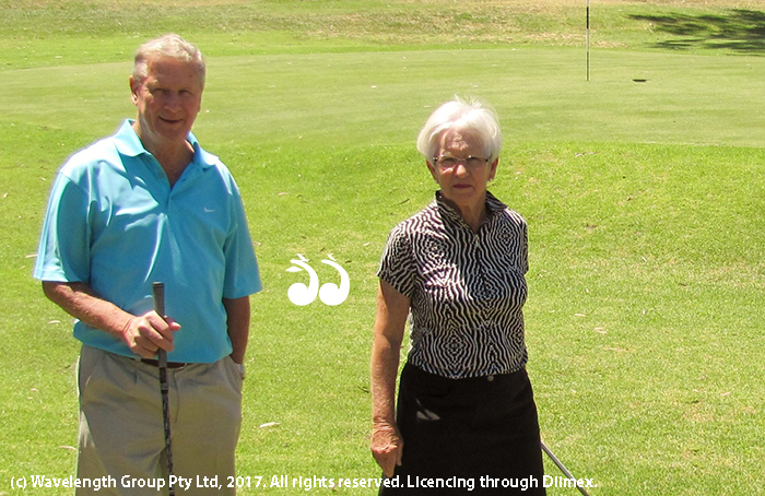 Charlie and Pam Manning on the golf course.