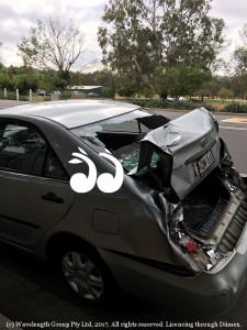 Carolyn Carter's Toyota Camery which was allegedly rammed by the truck in Muswellbrook.