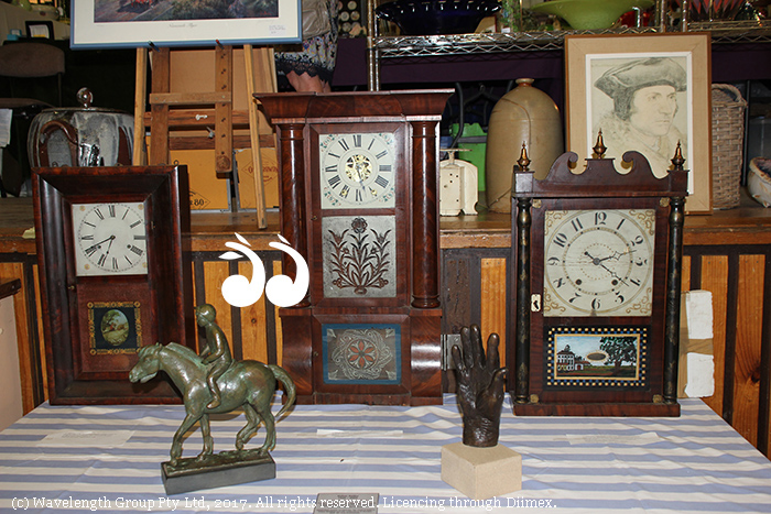 Three clocks dating back to the 1850's donated by Peter Bishop to raise money at Scone High School's Antique Fair.