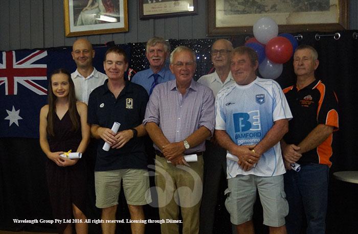 Nominees on the day with L-R: Kate Lloyd, Ambassador Todd Greenberg, Shane Lloyd for the Aberdeen Rugby Club, David Sullivan, Tony Clifford, Kevin Taylor, Roy Thomas Bridge and Garry Milton.