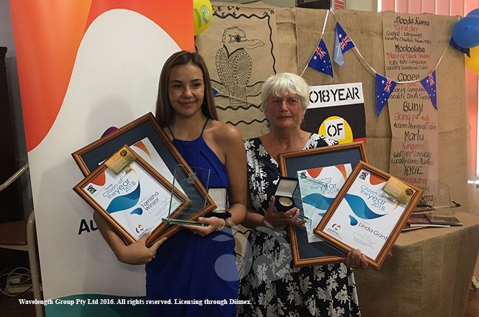 Young Citizen of the Year Tarnisha Winsor with Citizen of the Year Linda Gant. Both Women being awarded the Merriwa awards and the awards for the Upper Hunter Shire Council.