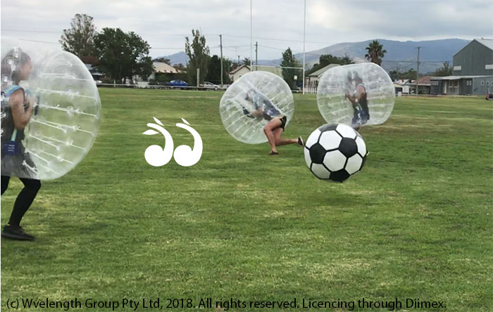 Playing Pick a Zorb Suit at Scone Park.