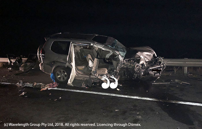 The 4WD involved in the three car accident a Halcomb Hill overnight.