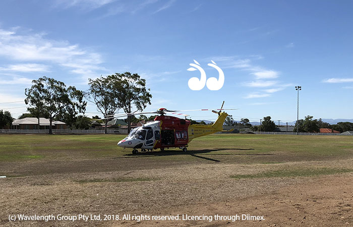 The Westpac Rescue Helicopter transporting an 80 year old Scone resident from Muswellbrook hospital to the John Hunter in Newcastle.