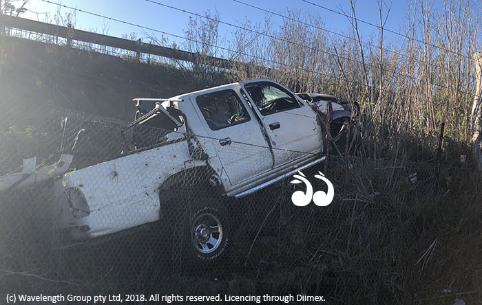 The twin cab ute which rolled down an embankment and was found by locals this morning.