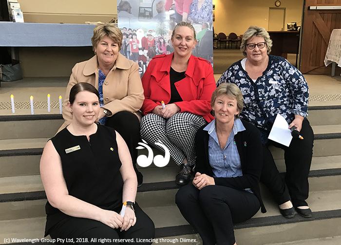 Supporting women: Back: Lee Watts SNRC, Joplin Higgins from Joplin Lawyers, Una Garland from Upper Hunter Homelsess Support. Front: Samantha Jones from Commonwelath Bank and Amanda Catzikiris from UHSC.