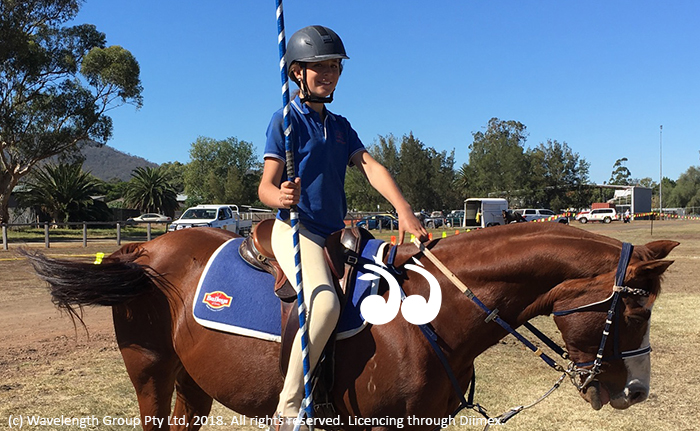 Emily Ninness from Merriwa on Chrome during the Australian Tentpegging Championships in Scone.