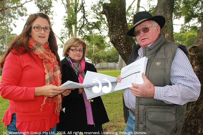 Mary Jane Blake, Jenny Wade and Terry Brazier discuss the water rates petition.