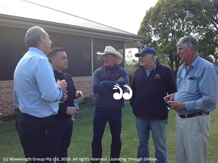 Farmers front Deputy Premier: Michael Johnsen MP, John Barilaro MP deputy premier with Antonio White, Peter MacCallum and Robert Gill.