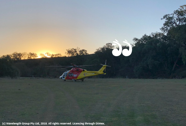 The Westpac Rescue Helicopter from Tamworth at Moonan Flat.