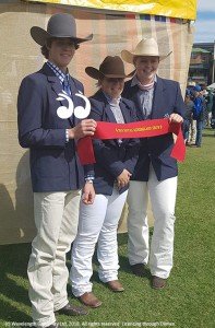 Second place in the junior judging: Travis Lamey, Kayla McIntrye and Sarah Keegan.