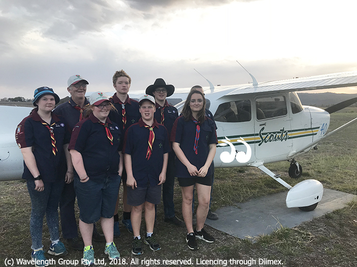 Scouts ready to fly: Back L-R: Stephanie Ford, Frank Green, Thomas Hobbs, Lachlan Barnes and Tim Barnse. Front L-R: Chloe Green, Liam Guilfoyle and Courtney Roach.
