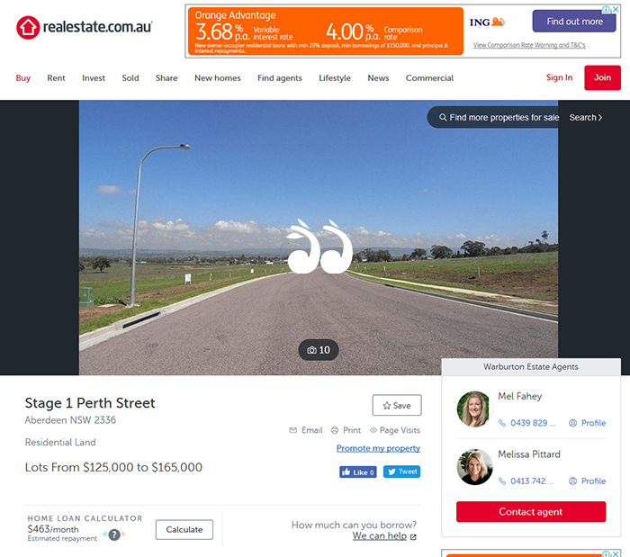Land owned by Council has appeared as a listing to one agent on realestate.com.au.
